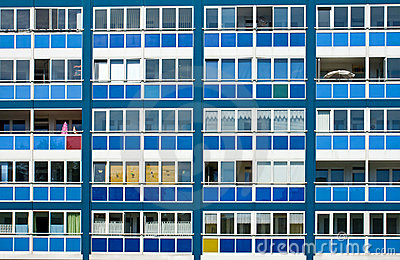 Blue facade of an GDR apartment building