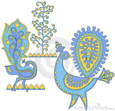Blue fantastic birds, vector i
