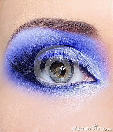 Blue fashion make-up of woman eye