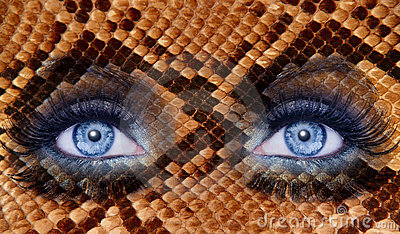 Blue fashion makeup eyes snake skin texture