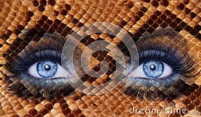 Blue fashion makeup eyes snake skin texture