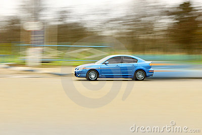 Blue fast car.