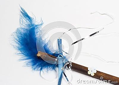 Blue Feather Magic Wand Close-up