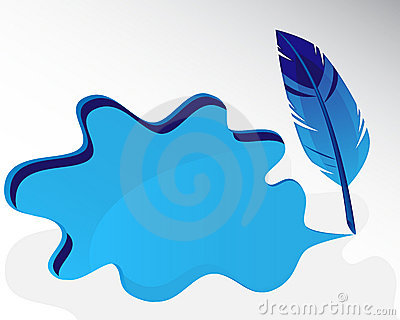 Blue feather and splash