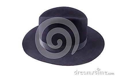 Blue fedora style felt hat