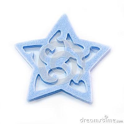 Blue felt star