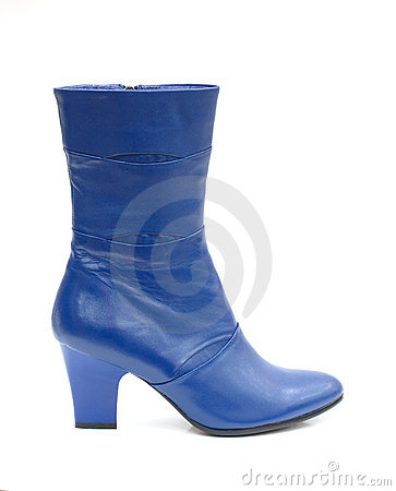 Blue female leather boot