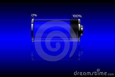 Blue filled battery