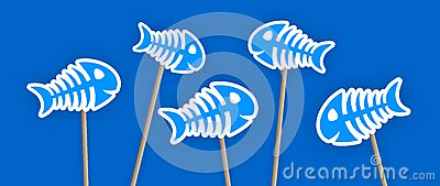 Blue fish bone stickers on the stick