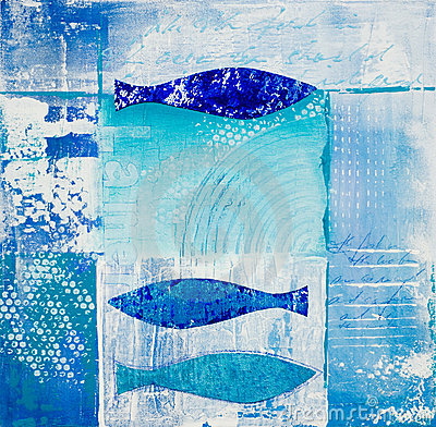 Blue fish collage