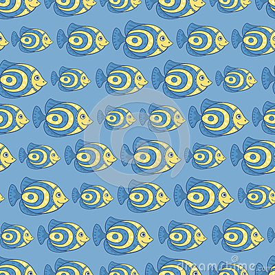 Blue fish seamless pattern