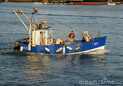 Blue fishing boat Editorial Photography