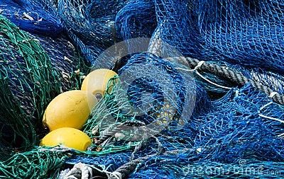 Blue fishing nets