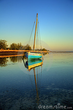 Blue fishing sail boat