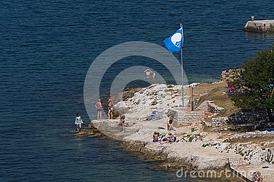 Blue flag of UNESCO Editorial Stock Image