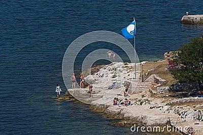Blue flag of UNESCO Editorial Stock Image