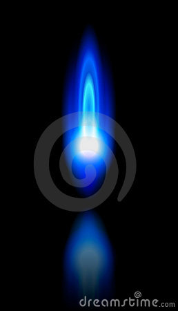 Blue flame of a burning natural gas