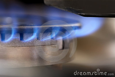 Blue Flames from a gas burner