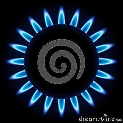 Blue flames of gas burner