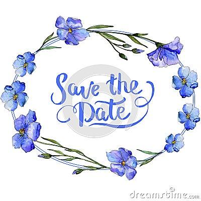 Free Blue Flax. Floral Botanical Flower. Frame Border Ornament Square. Stock Images - 117767394