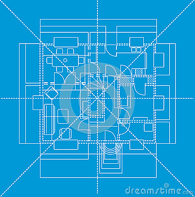 Blue floor plan, illustration