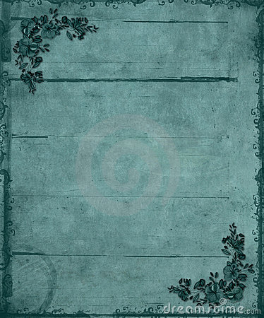 Blue Floral Corners Grunge Background