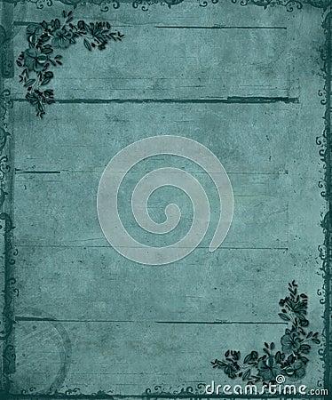 Blue Floral Corners Grunge Background