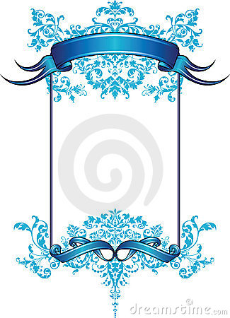 Blue Floral Frame With Ribbon Banner Stock Photos - Image: 6556213