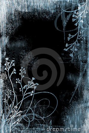 Blue Floral Grunge
