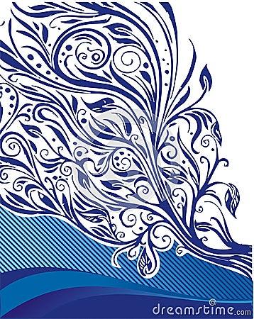 Blue floral illustration