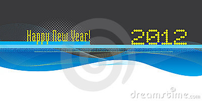Blue flow shapes and lines with Happy New Year