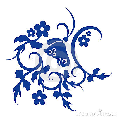 Blue flower and butterfly pattern