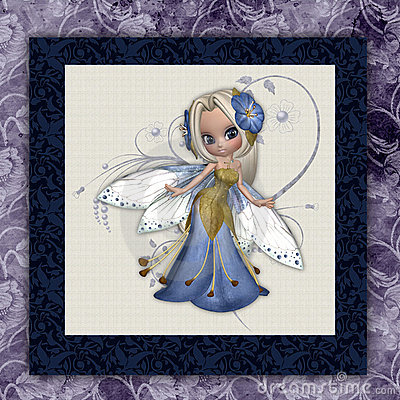 Blue Flower Fairy Square Print