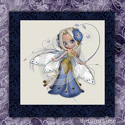 Blue Flower Fairy Square Print