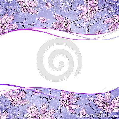 Blue flower over violet background