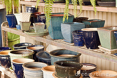 Blue flower pots on shelf