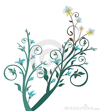 Blue flower and tree