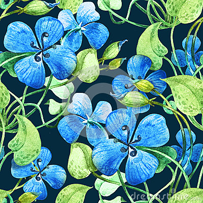 Blue flower. Watercolor floral  seamless pattern background.
