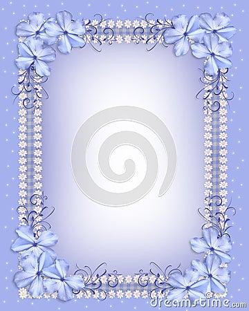 Blue flowers border gingham ribbons