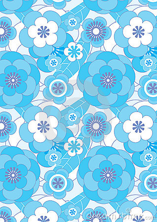 Blue Flowers Flourish Seamless Pattern_eps