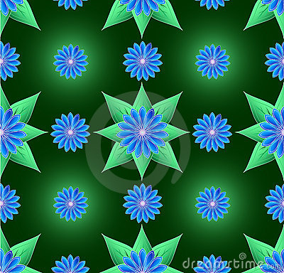 Blue flowers and green leaf seamless background