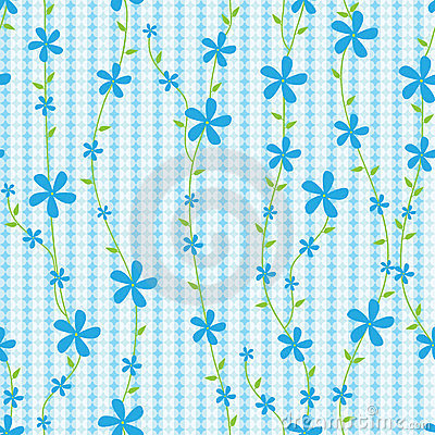 Blue Flowers And Lines Seamless Pattern_eps