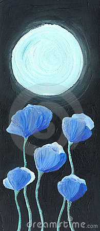 Blue flowers in the Moonlight