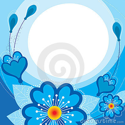 Free Blue Flowers On A Blue Background Stock Image - 23780281