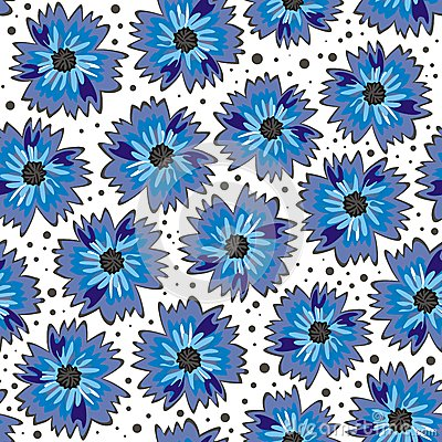Free Blue Flowers On White Background Seamless Pattern Royalty Free Stock Photography - 27404487