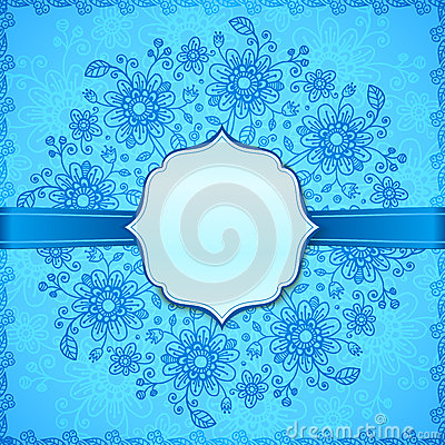 Blue flowers ornate  background