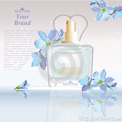 Free Blue Flowers Perfume Bottle Cosmetic Ads Template, Droplet Mock Up  On Dazzling Background. Place For Brand Text Stock Photos - 85348123