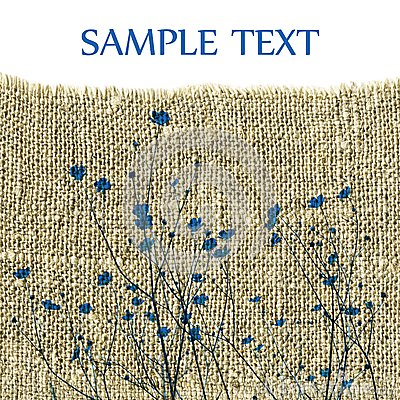 Blue flowers on sackcloth