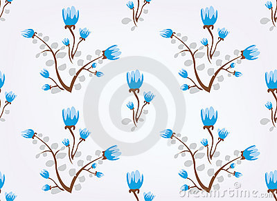 Blue flowers vintage seamless background