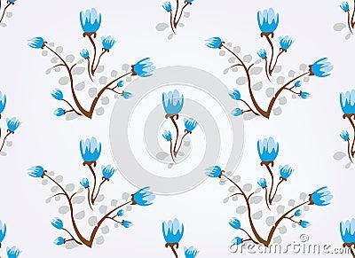 Blue flowers vintage seamless background